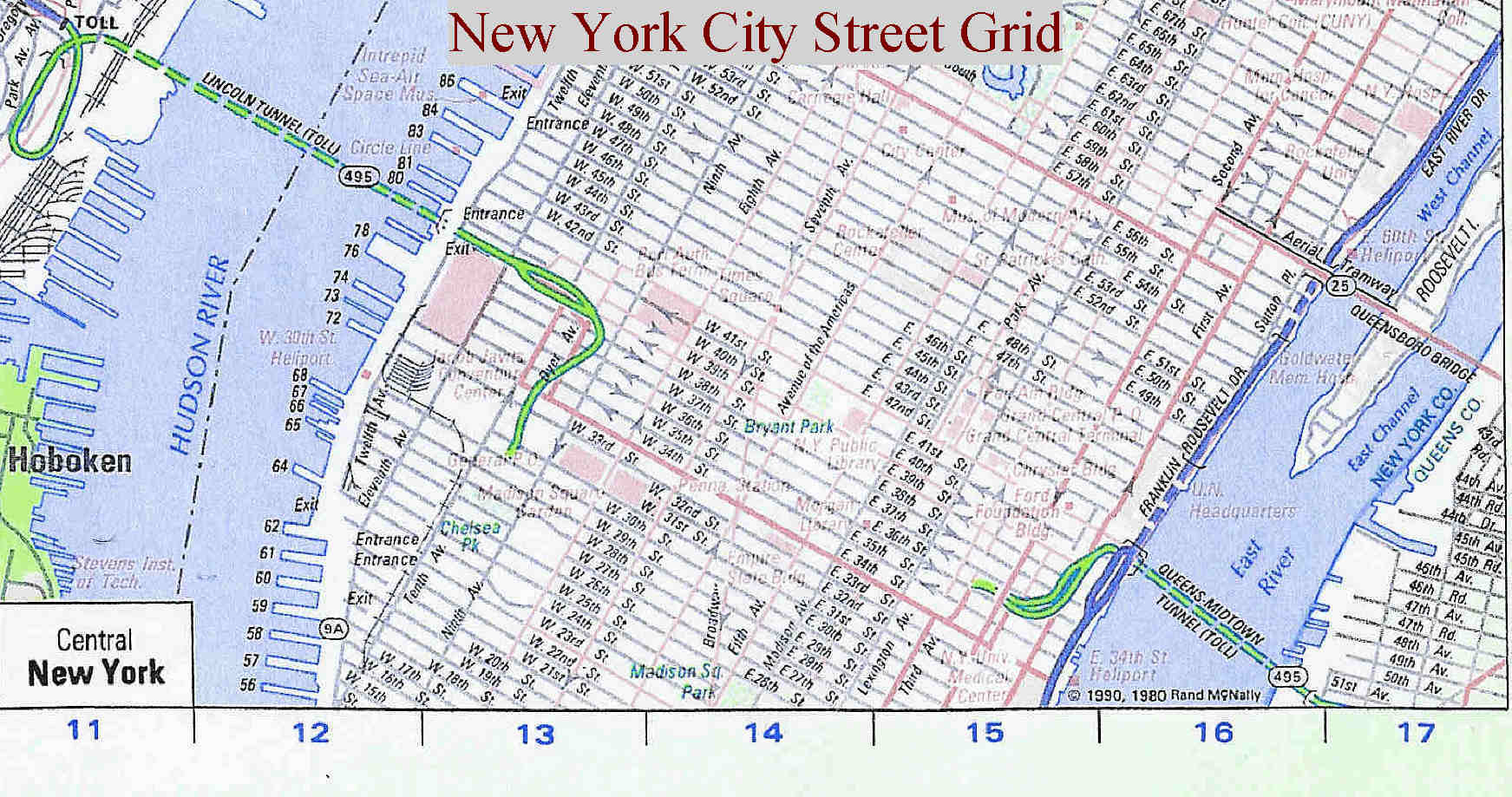 This Interactive Map Displays All Changes in New York City ...  New York City Grid Map
